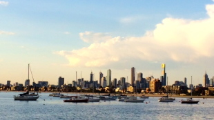 Downtown Melbourne from Saint Kilda Beach